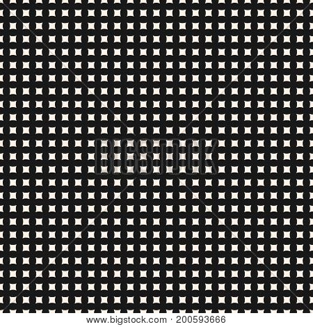 Simple vector geometric seamless pattern with tiny curved square shapes, regular grid, perforated surface. Abstract monochrome texture. Minimalist background. Repeat design for decor, textile, covers.