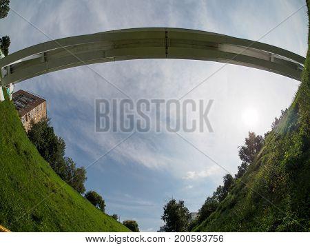 fisheye view on footbridge in nizhniy novgorod from ravine