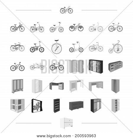 hobbies, art, painting and other  icon in monochrome style.Transport, business, trade, icons in set collection.