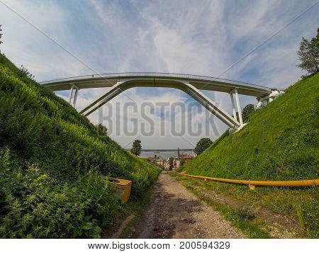 view on footbridge in nizhniy novgorod from ravine