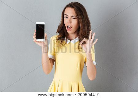 Attractive young girl winking and showing ok gesture while holding blank screen mobile phone isolated over gray background