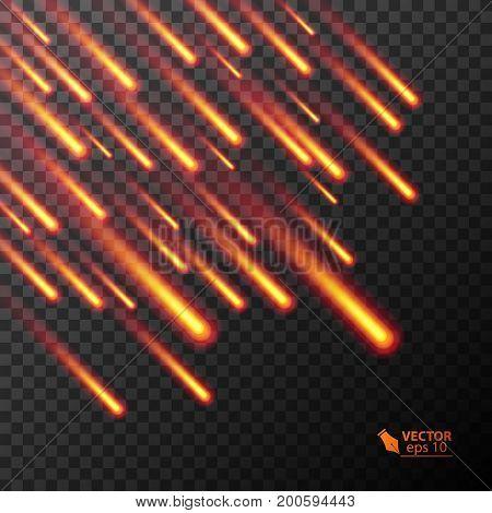 Colorful burning comets. Vector illustration Set of Flying colorful burning comets.