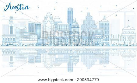 Outline Austin Skyline with Blue Buildings and Reflections. Business Travel and Tourism Concept with Modern Architecture. Image for Presentation Banner Placard and Web Site.