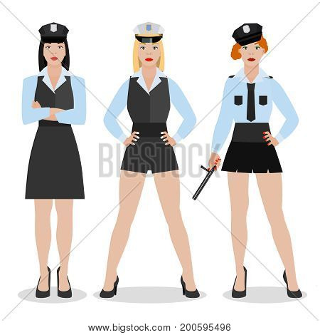 Police women in sexy uniform. Vector illustration in flat style isolated on a white background.