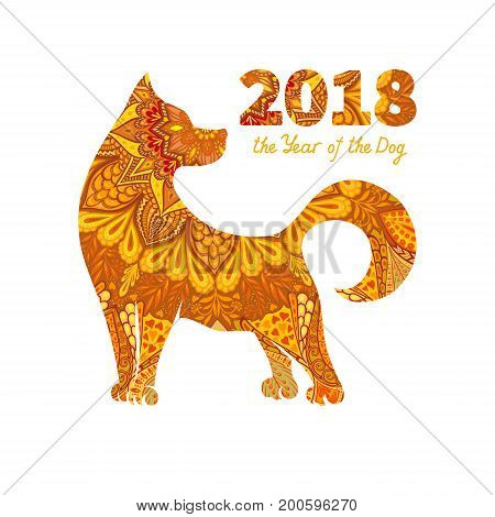 Dog is a symbol of the 2018 Chinese New Year. Design for greeting cards calendars banners posters invitations.