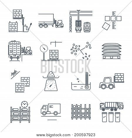 set of thin line icons warehousing storage of goods and materials