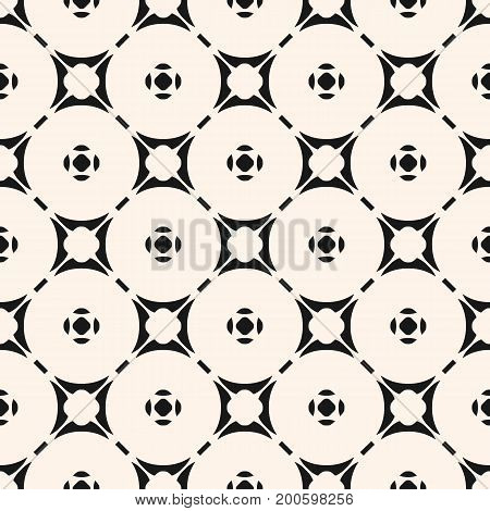 Vector ornamental geometric background with carved shapes, circular lattice. Stylish modern pattern. Abstract monochrome seamless texture, repeat tiles. Design for decor, fabric, textile, ceramic.