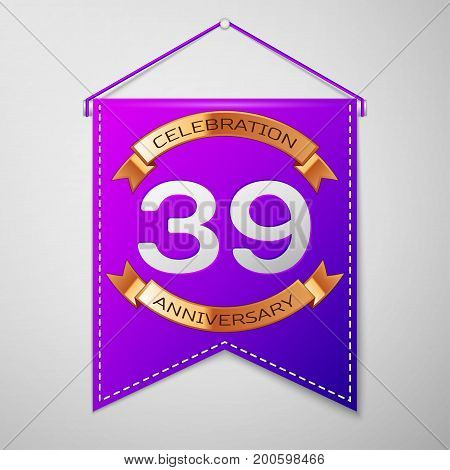 Realistic Purple pennant with inscription Thirty nine Years Anniversary Celebration Design on grey background. Golden ribbon. Colorful template elements for your birthday party. Vector illustration