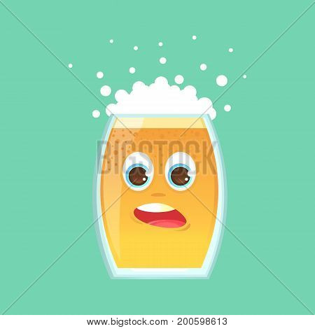 Character glass with beer foam and bubbles. Scared in shock scattered foam. Sticker for the messenger and other communication links. Vector illustration in a cartoon style.