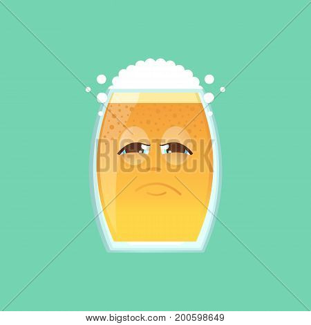 Character glass with beer foam and bubbles. Emotional icon. Sadness tired sick. Sticker for the messenger and other communication links. Oktoberfest. Vector illustration in cartoon style.