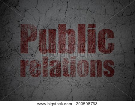 Advertising concept: Red Public Relations on grunge textured concrete wall background