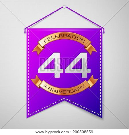 Realistic Purple pennant with inscription Forty four Years Anniversary Celebration Design on grey background. Golden ribbon. Colorful template elements for your birthday party. Vector illustration