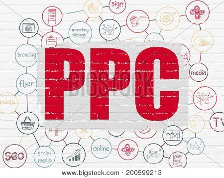Advertising concept: Painted red text PPC on White Brick wall background with Scheme Of Hand Drawn Marketing Icons