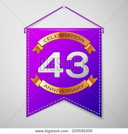 Realistic Purple pennant with inscription Forty three Years Anniversary Celebration Design on grey background. Golden ribbon. Colorful template elements for your birthday party. Vector illustration