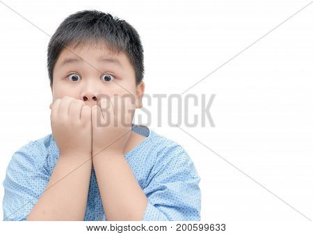Obese fat asian boy portrait with funny shocked face expression surprised concept