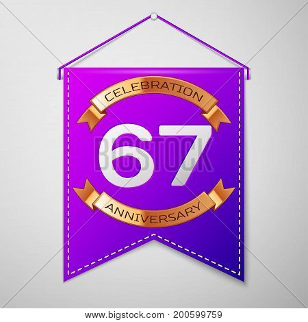 Realistic Purple pennant with inscription Sixty seven Years Anniversary Celebration Design on grey background. Golden ribbon. Colorful template elements for your birthday party. Vector illustration