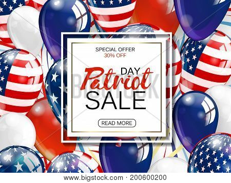 Memorial day sale promotion advertising banner template decor with American flag balloons design. Vector illustration .
