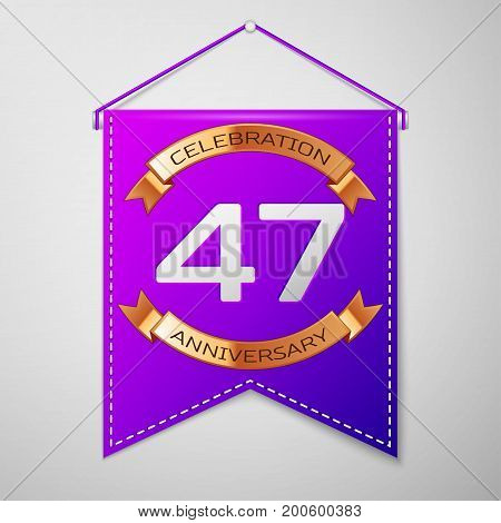 Realistic Purple pennant with inscription Forty seven Years Anniversary Celebration Design on grey background. Golden ribbon. Colorful template elements for your birthday party. Vector illustration