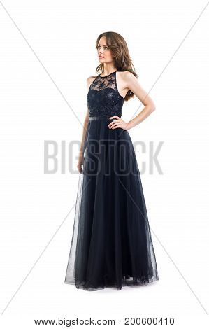Full Length Portrait Of Young Beautiful Woman In Black Evening Dress