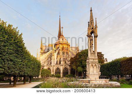 Orange light from sunrise on the top of Notre-Dame de Paris, France