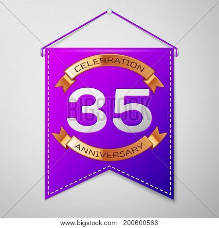 Realistic Purple pennant with inscription Thirty five Years Anniversary Celebration Design on grey background. Golden ribbon. Colorful template elements for your birthday party. Vector illustration