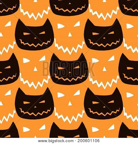 Halloween seamless pattern with cats. Vector halloween background. Hipster textile or wrapping paper