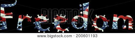 Freedom Logo With American Flag In Words