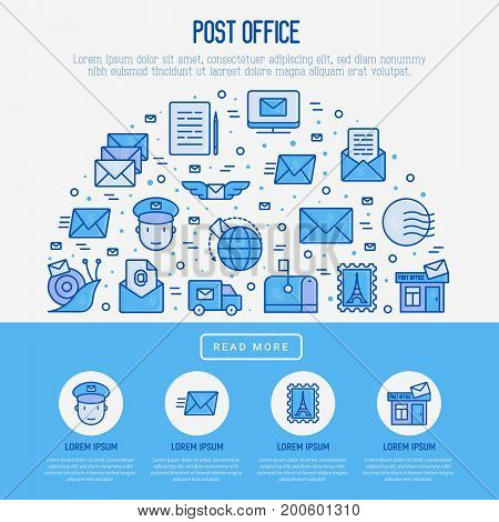 Post office concept in half circle with thin line icons. Symbols of shipping, delivery, packaging. Vector illustration for banner, web page, print media.