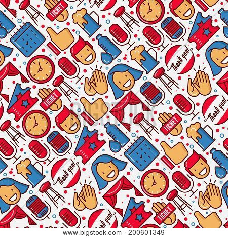 Stand up comedy show seamless pattern with thin line icons. Vector illustration for banner, web page, print media.