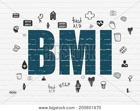 Medicine concept: Painted blue text BMI on White Brick wall background with  Hand Drawn Medicine Icons