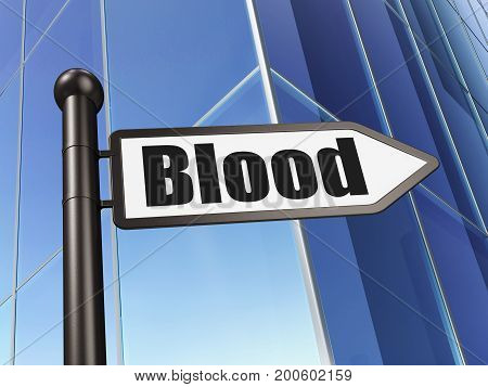 Medicine concept: sign Blood on Building background, 3D rendering
