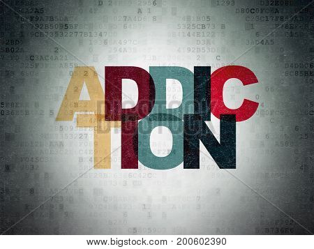 Health concept: Painted multicolor text Addiction on Digital Data Paper background
