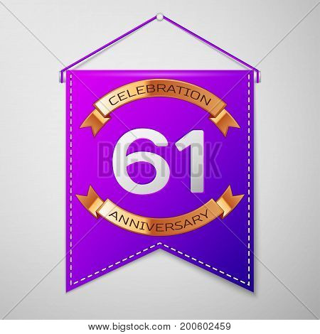 Realistic Purple pennant with inscription Sixty one Years Anniversary Celebration Design on grey background. Golden ribbon. Colorful template elements for your birthday party. Vector illustration