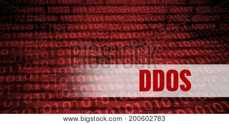 Ddos Security Warning on Red Binary Technology Background