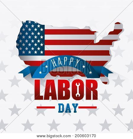 Labor day card design vector illustration with map and USA flag.