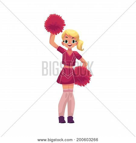 vector cartoon smiling cheerleader blond girl character dancing with pom-poms raising hands up. Isolated illustration ona white background.