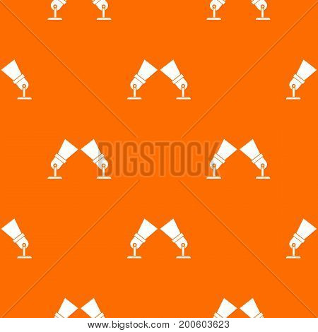 Floodlights pattern repeat seamless in orange color for any design. Vector geometric illustration