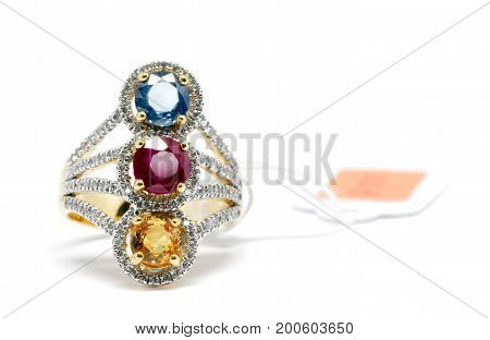 Red, Yellow And Blue Diamond With White Diamond And Gold Ring