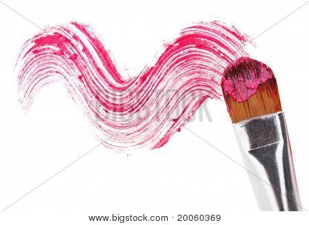 Pink Lipstick Stroke (sample) With Makeup Brush, Isolated On White