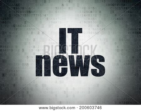 News concept: Painted black word IT News on Digital Data Paper background
