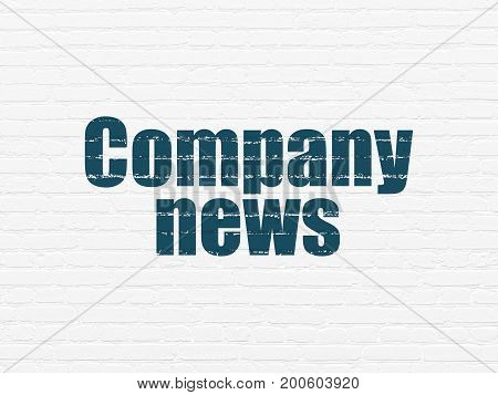 News concept: Painted blue text Company News on White Brick wall background