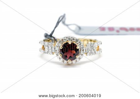 Closed Up Red Diamond With White Diamond And Gold Ring
