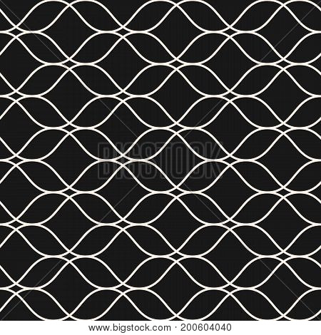 Vector seamless pattern, thin wavy lines. Dark texture of mesh, lace, weaving smooth lattice. Subtle monochrome geometric background. Design for prints, fabric, package, decor, cloth, digital, web. Mesh pattern, wavy pattern, design pattern.