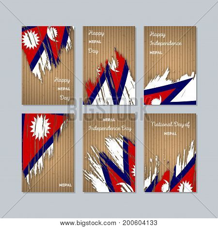 Nepal Patriotic Cards For National Day. Expressive Brush Stroke In National Flag Colors On Kraft Pap