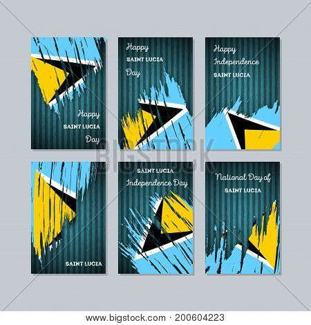 Saint Lucia Patriotic Cards For National Day. Expressive Brush Stroke In National Flag Colors On Dar