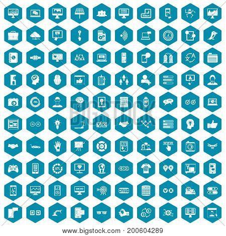 100 interface icons set in sapphirine hexagon isolated vector illustration