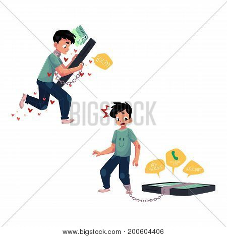 Teenage boy chained to huge smartphone, unable to let it go, phone dependence, cartoon vector illustration isolated on white background. Boy chained to huge phone unable to let it go, phone dependence
