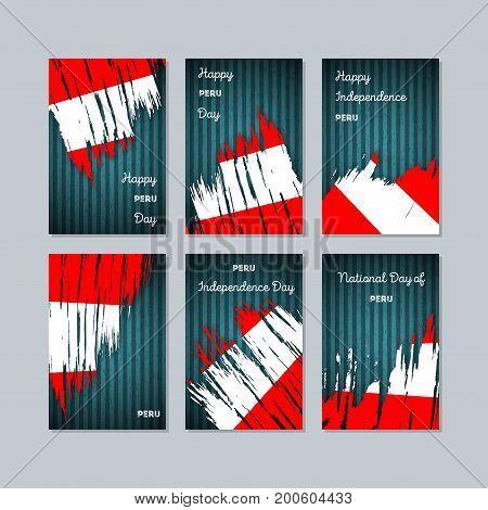 Peru Patriotic Cards For National Day. Expressive Brush Stroke In National Flag Colors On Dark Strip