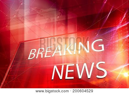 Graphical 3D breaking news text in big flat screen. 3d Illustration 3d Render