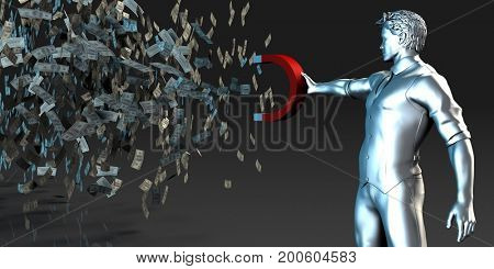 Wealth Concept with Man Holding Magnet to Pull Money In 3D Illustration Render